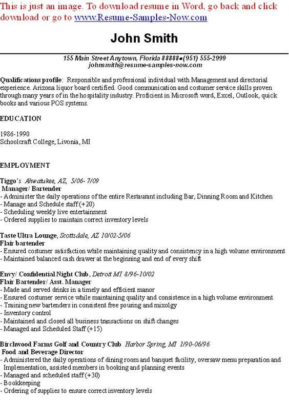 Bartender Cv Examples. Server Bartender Resume Samples Visualcv