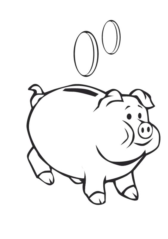 piggy bank coloring sheets and pennies on pinterest