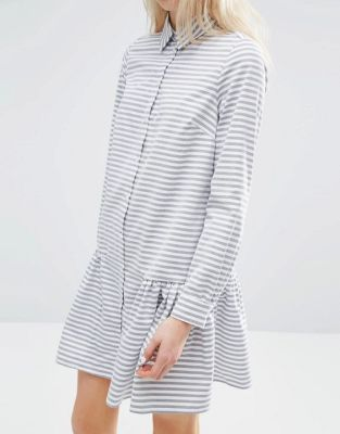 Image 3 of ASOS Shirt Dress with Frill Hem in Stripe: