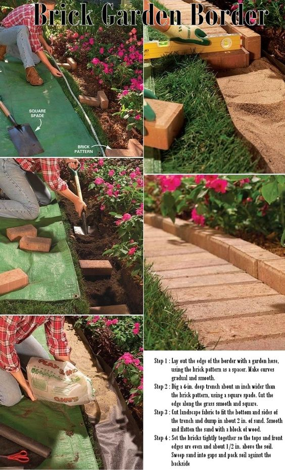 Gardens, Brick garden and Garden borders on Pinterest