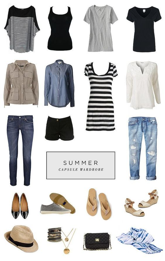*favorite* Summer Capsule Wardrobe (straight from her board). Great article with links.: