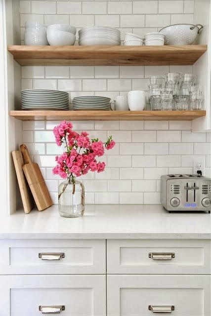love the open shelves in the kitchen idea instead of crowded cluttered cabinets full of crap we never use: