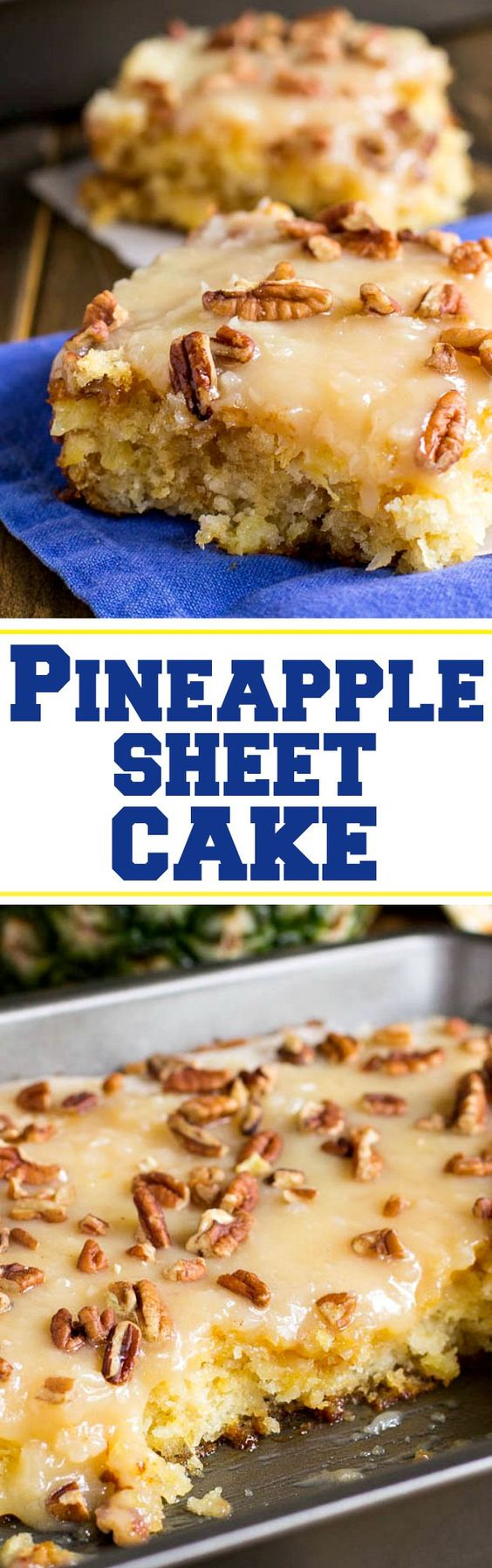 Pineapple Sheet Cake Dessert Recipe via Spicy Southern Kitchen ~ flavored and moistened with crushed pineapple and topped with a sweet icing laced with shredded coconut, and sprinkled with pecans is a wonderful dessert to make to feed a crowd. The Best EASY Sheet Cakes Recipes - Simple and Quick Party Crowds Desserts for Holidays, Special Occasions and Family Celebrations