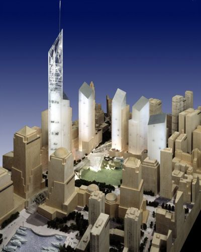 The model of the original design of Libeskind's World Trade Center
