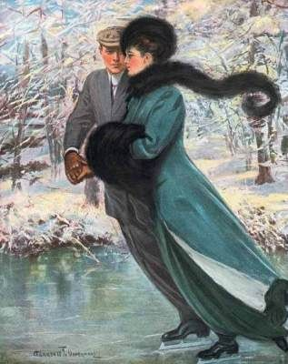 Winter's Date  by Clarence F. Underwood, I loooove the elegant Victorian era :):
