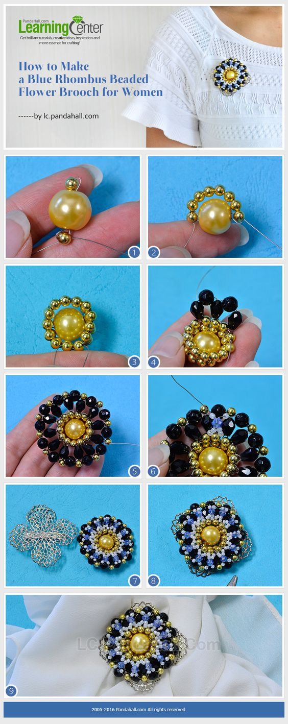 Tutorial on How to Make a Blue Rhombus Beaded Flower Brooch for Women from LC.Pandahall.com #pandahall: