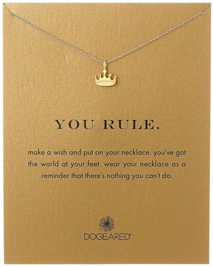 Amazon.com: Dogeared Gold Plated Sterling Silver You Rule Reminder Necklace…: