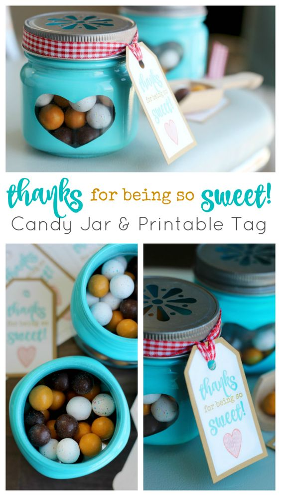 Thanks for being so sweet Candy Jar and Printable Tag: