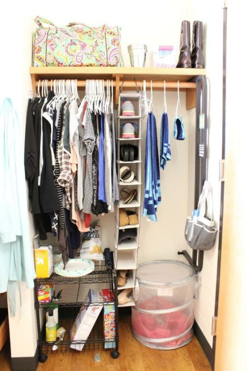 This is a great way to organize your dorm closet.: