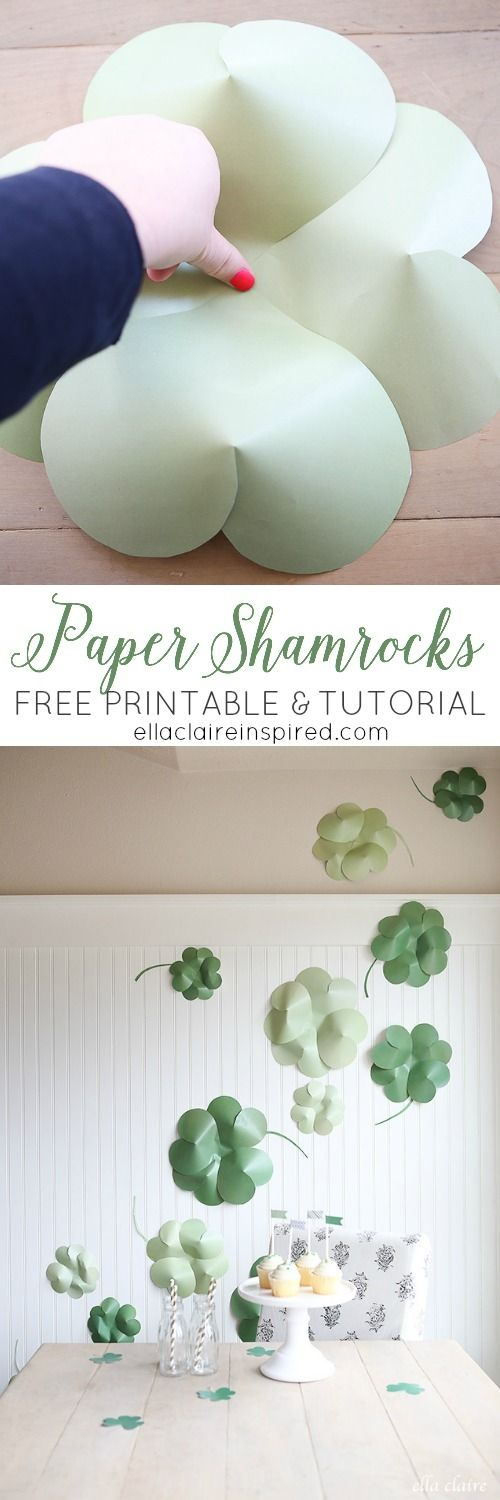 DIY Giant Paper Shamrocks tutorial with Free Printable via Ella Claire Inspired - so fun for St. Patrick's Day!