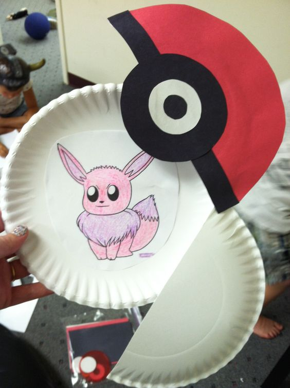Opening pokeballs made from paper plates and construction paper. Then had the kids pick out their favorite Pokemon, color them, and tape them inside. The kids were so excited for this project that one child threw a tantrum when his mom said they weren't coming so she had to come to the gym just so he could come to Playcare.