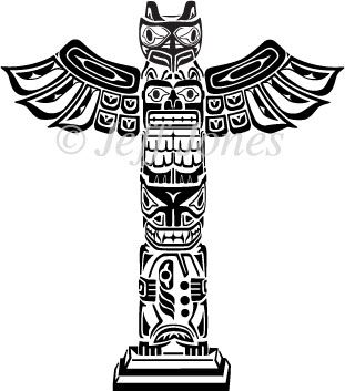 totem pole coloring pages totem poles eskimos vector art