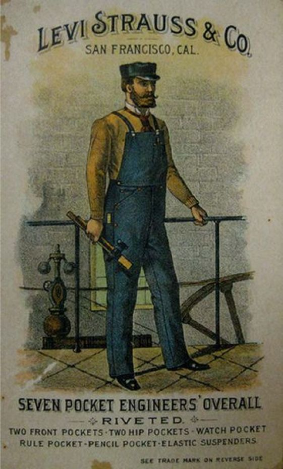 May 20, 1874. Levi Strauss first markets his blue jeans with copper rivets, priced at $13.50 a dozen.: