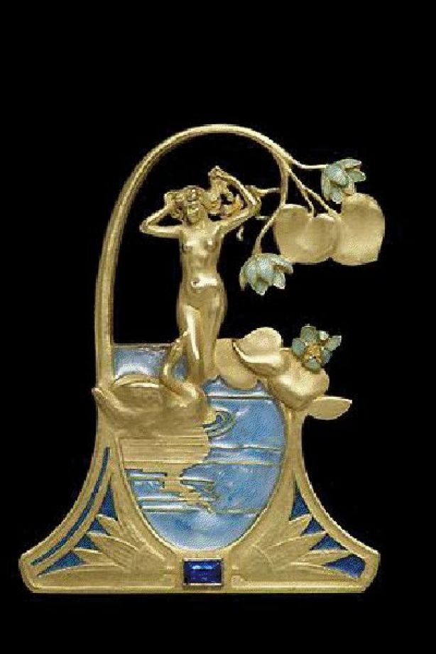 Art Nouveau. Renè Lalique 1899 gold and enamel pendant inspired by the mythological story of Leda and the Swan:
