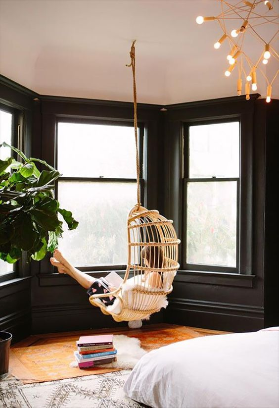 Hanging Chairs — Vintage rattan hanging chairs are making a comeback. A seating nook that had a hold of my heart. Loving this Interior design trend. Boho styling. via HouseOfHipsters.com: