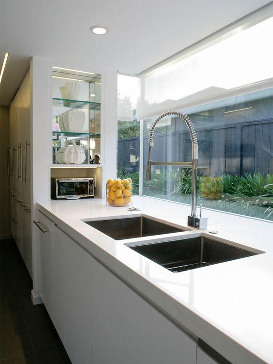 Large double sink and window splashback | House ideas ...