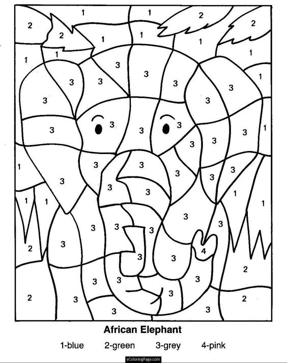 color by numbers elephants and coloring pages for kids on pinterest