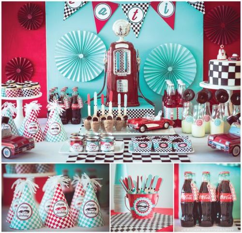 Vintage Car Theme. Fill'er up gas station party https://www.facebook.com/PrettyPaperParties photos by Jericah Photography https://www.facebook.com/pages/Jericah-Photography/155018284513554?ref=br_tf: