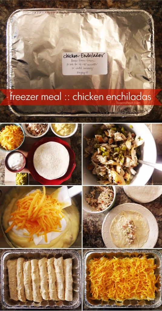 Chicken Enchiladas Freezer Meal Recipe via Live Craft Eat - Try out this simple chicken enchiladas recipe with sour cream, one of the best I've found, for a great meal. Cook them day of or freeze them.