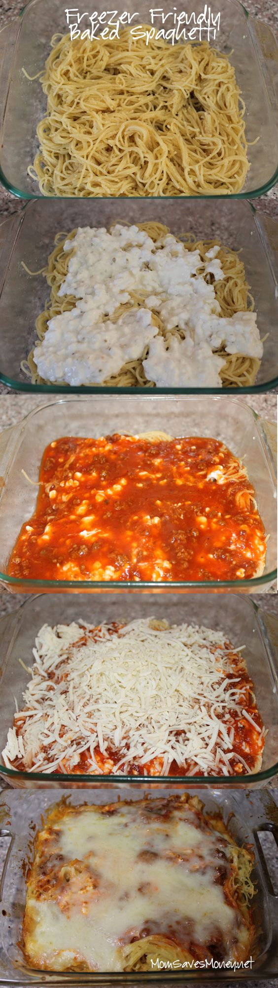 Freezer Friendly Baked Spaghetti Recipe via Mom Saves Money - This easy baked spaghetti recipe is freezer friendly! Make a double or triple batch and freeze extras for a quick dinner!