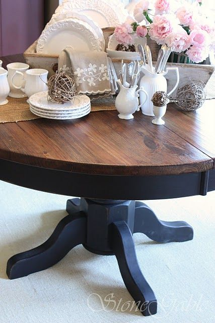 1000 Ideas About Two Tone Table On Pinterest Refinished Table Ladder Back Chairs And Kitchen