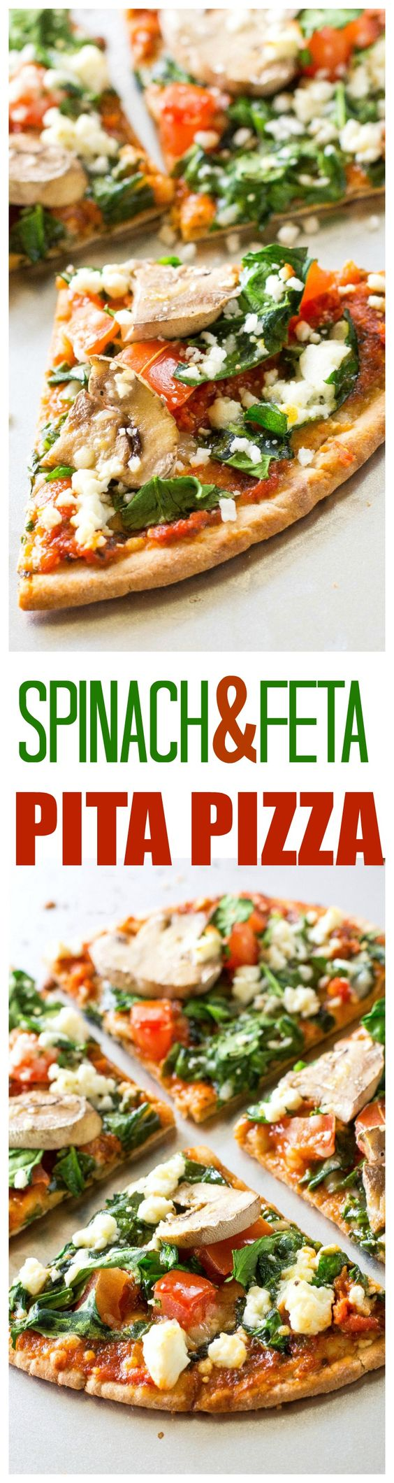 Spinach and Feta Pita Pizzas Recipe via The Girl Who Ate Everything - a great appetizer or even filling enough for a meal. Only 350 calories per pizza..