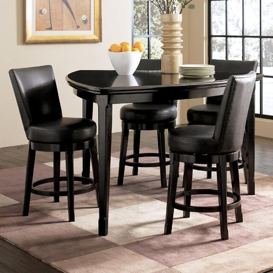 Emory 5 Piece Triangle Counter Height Table With 4