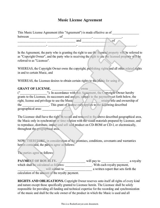 Copyright License Agreement Template music and templates on – Copyright Notice Template