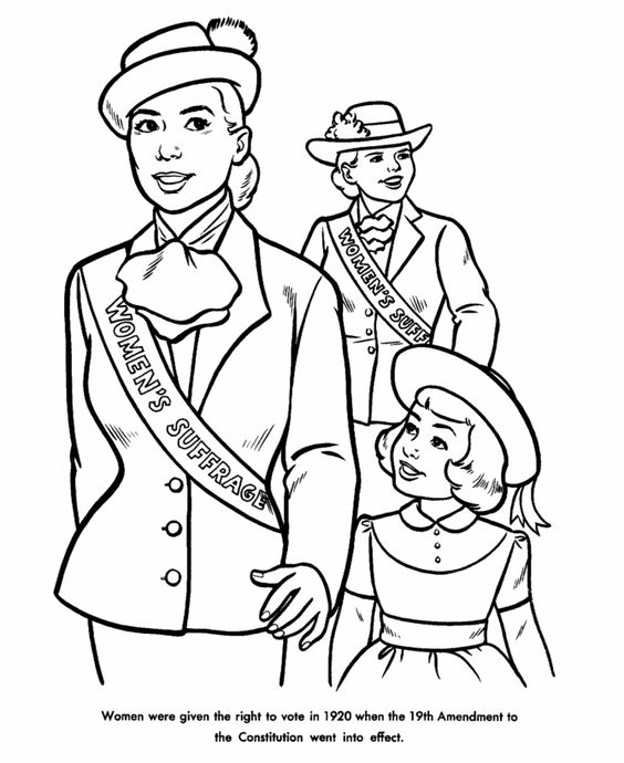 women's right to vote coloring sheets  google search