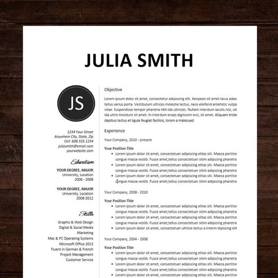 resume cv template and resume design on pinterest