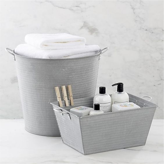 Galvanized Tub And Bin In Laundry Crate And Barrel