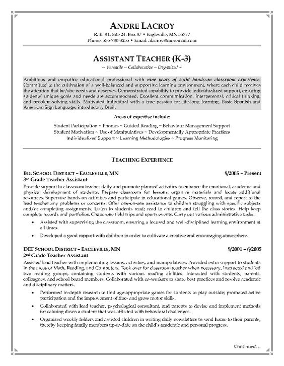 resume objective resume and teacher assistant on pinterest