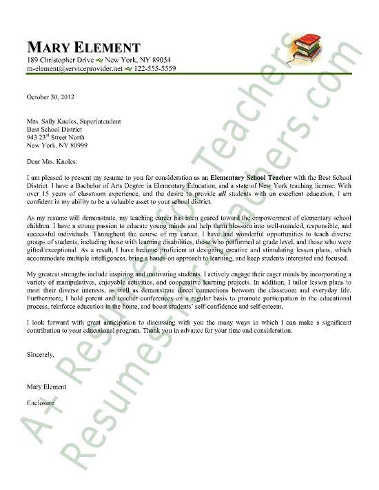 letter sample cover letter sample and elementary teacher on pinterest