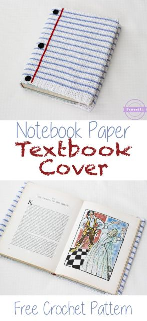 Notebook Paper Crochet Textbook Cover | Free Pattern from Sewrella:
