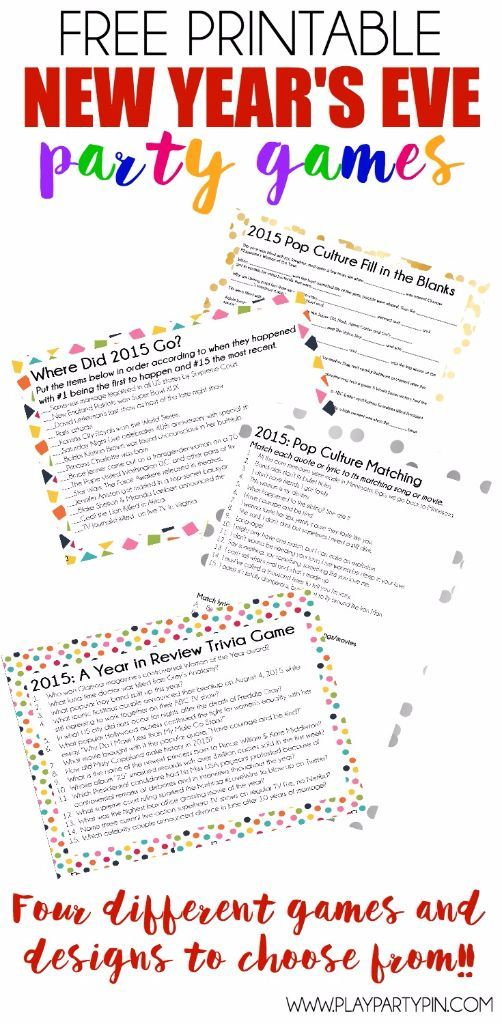 Free Printable 2015 New Years Eve Party Games Game of