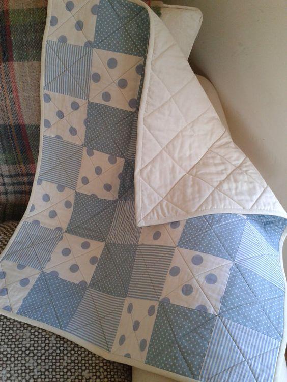 Blue Patchwork Baby Quilt baby boy by PollysPrettyPrints on Etsy, €70.00: