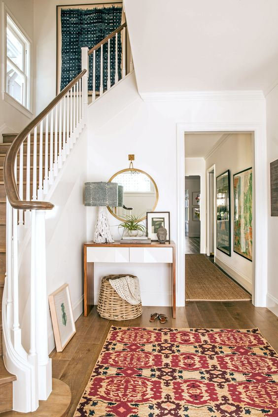 Modern Traditional Entryway White Walls Wood Floors