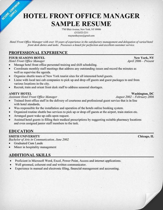 Resume Front Desk Hotel Position Help Sample Resume Sample