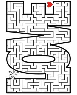 Valentine's day printable maze for your 4-7 year olds.: