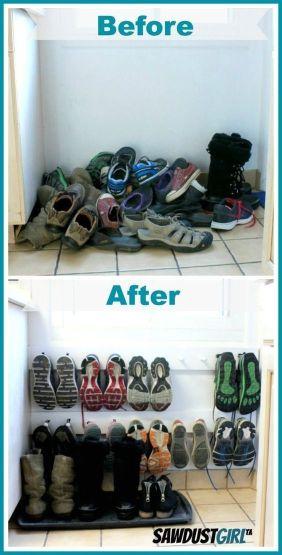 Hang je schoenen op aan de muur