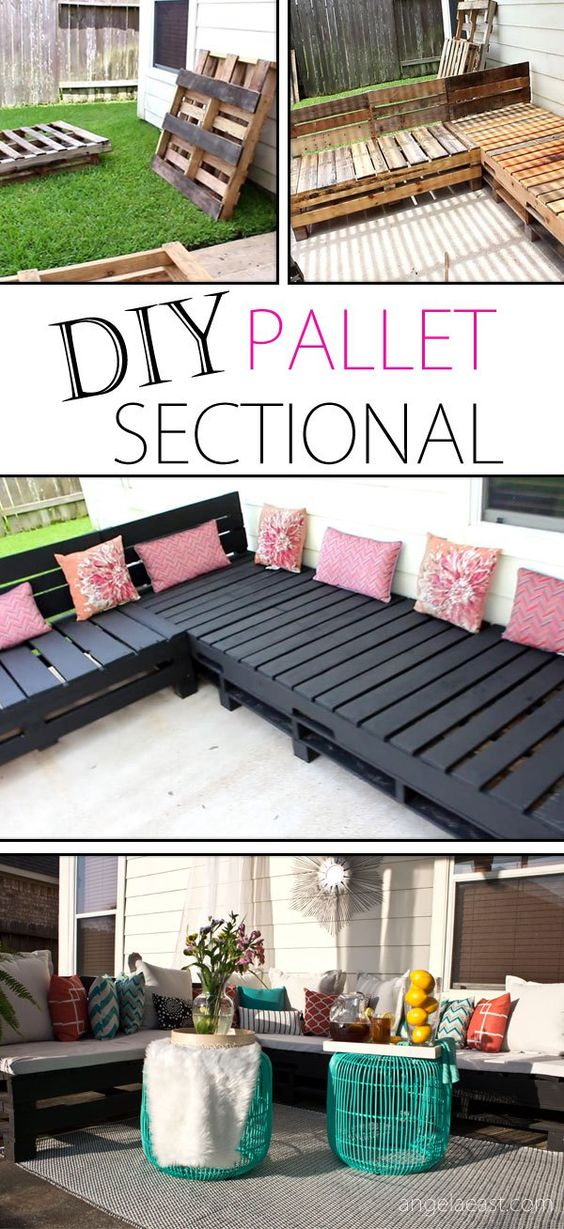 IY Pallet Sectional Indoor or Outdoor Sofa Seating Group Tutorial   Angela East - DIY Pallet Furniture - Patio Furniture Sectional   Pallet Sofa   Pallet Chair   DIY Furniture   DIY   Outdoor Living   Home Decor   Patio Makeover   Patio Decor   Deck Decorations   Porch Decorations   Gardening