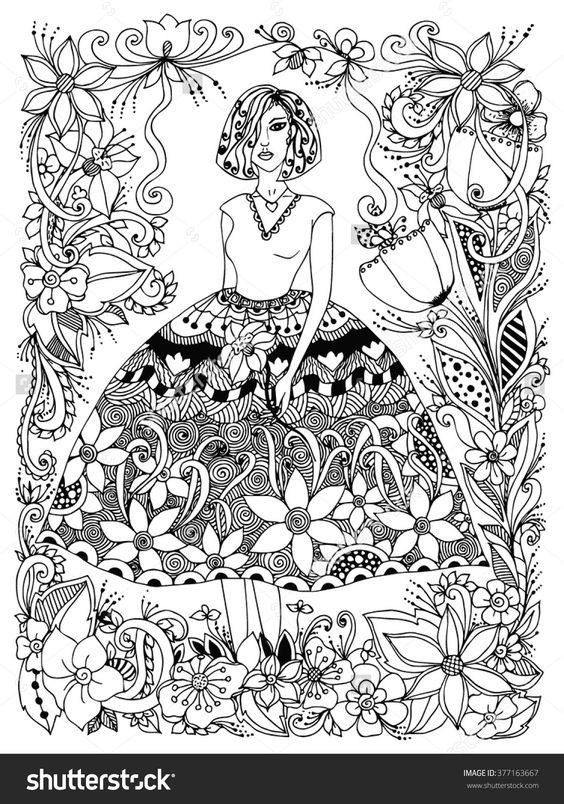 girl holding flower zentangle in lush dress, flowers