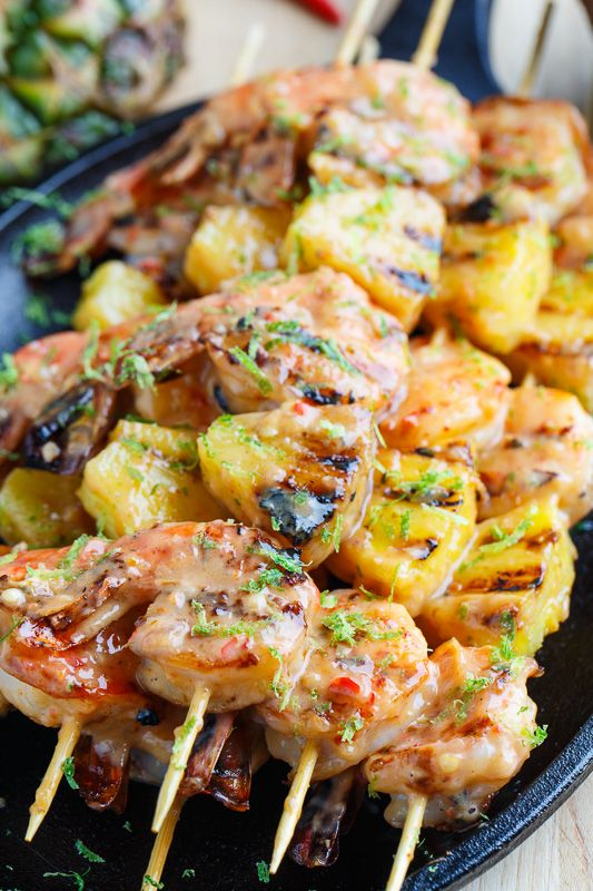 Grilled Coconut and Pineapple Sweet Chili Shrimp Kabobs Recipe | Closet Cooking