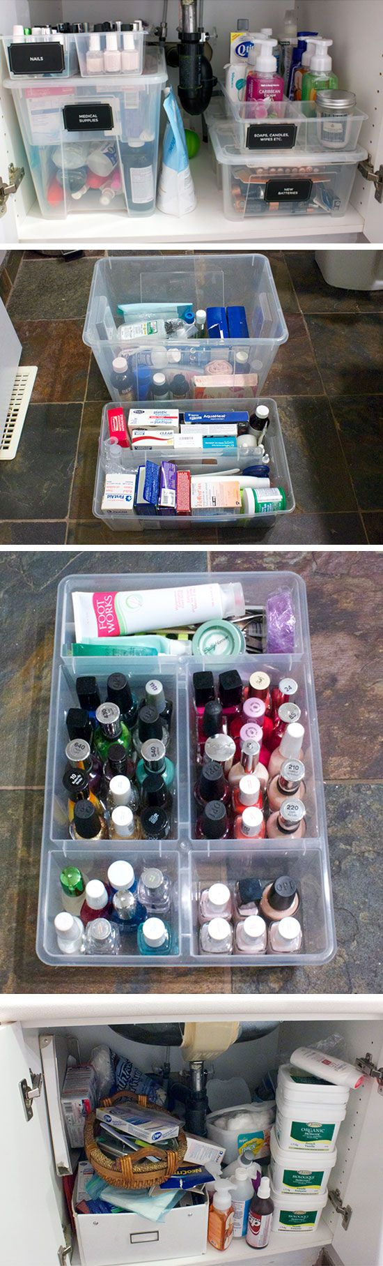 Bathroom storage - Organize under the sink with plastic containers
