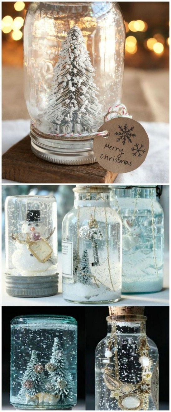 Personalized snow globes, Mason jar christmas and Snow