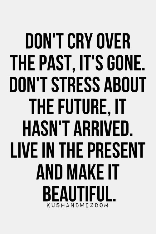 Don't cry over the past, it's gone. Don't stress about the future, it hasn't arrived. Live in the present and make it beautiful. -C: