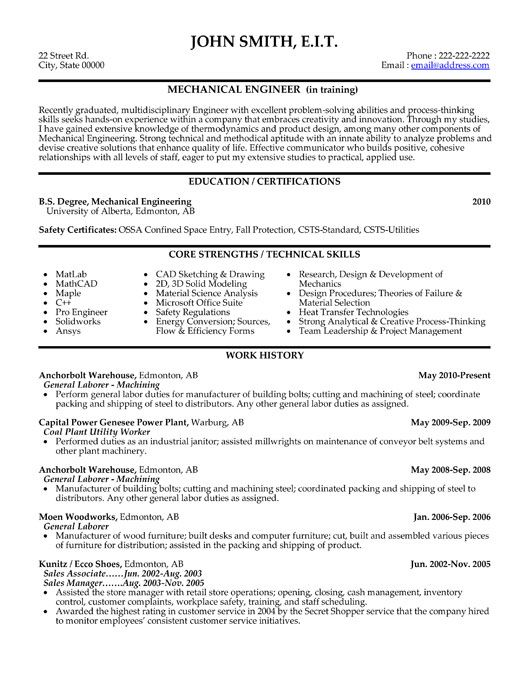 click here this mechanical engineer resume template