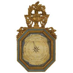 18th c. French Louis XVI Gilt-Trimmed Octagonal Barometer with Pediment: