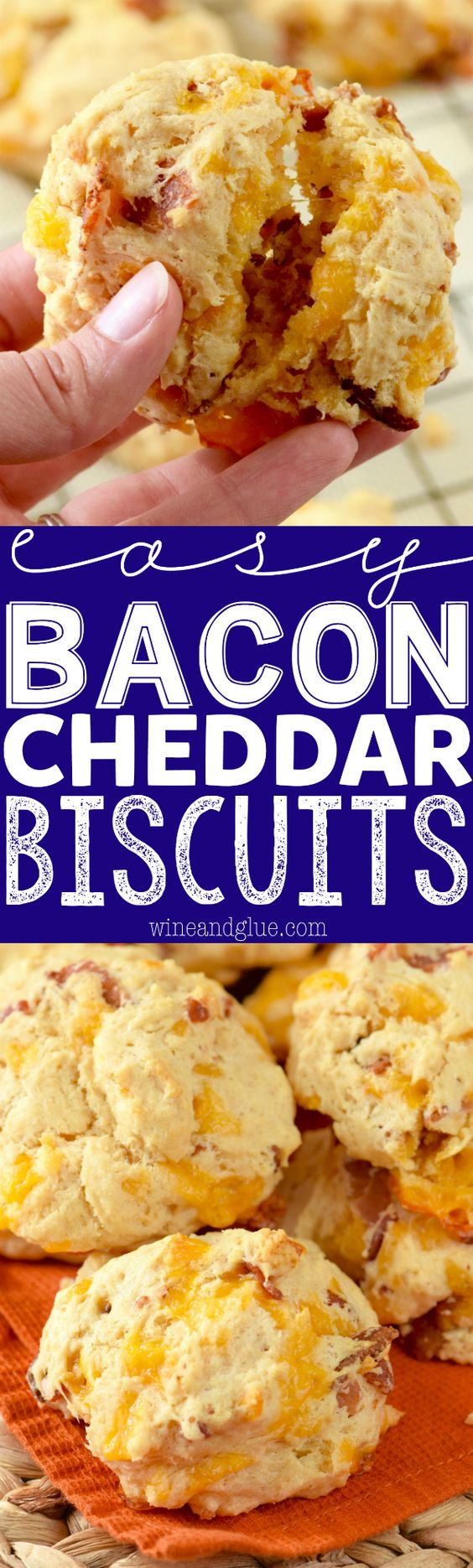 """These Easy Bacon Cheddar Biscuits are so easy that you can perfectly throw them together right before serving your meal!"" via Wine & Glue - The Best Homemade Biscuits Recipes - Quick, Easy and Delicious Bread Sides for Breakfast, Brunch, Lunch and Family Dinner!"