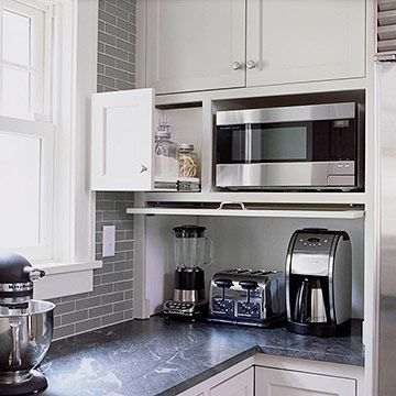 Make Appliances Disappear ... nice hiding place for coffee pot and blender: